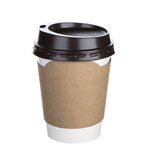 Paper cup of coffee Isolated white Royalty Free Stock Photography