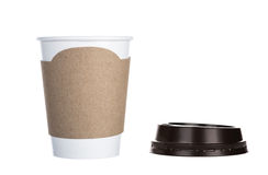 Paper cup of coffee Isolated white Stock Images