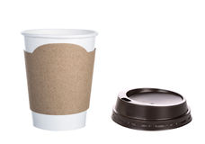 Paper cup of coffee Isolated white Royalty Free Stock Photo