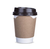 Paper cup of coffee Isolated white background Royalty Free Stock Photography