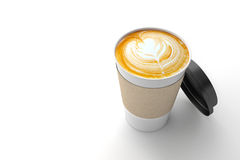 Paper cup of coffee latte on white background. Stock Photography