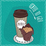 Paper cup of coffee with muffin in brown paper Royalty Free Stock Image