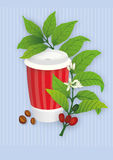 Paper cup of coffee with red stripes and a coffee tree twig on a blue striped background Stock Photos