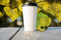 Paper cup with coffee is standing on the wooden table inn on the autumn park. With yellow leaves background royalty free stock photography