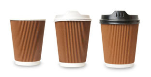 Paper cup of coffee. White background Stock Photography