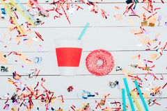 Paper cup and donut royalty free stock photos
