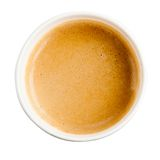 Paper cup espresso coffee with foam. On top of shot in studio on white background Stock Photo