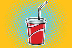 Paper Cup fast food beverage. Pop art retro comic book vector illustration Royalty Free Stock Photos