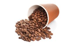 Paper cup filled with coffee beans. On a white background. to go or take away drink Stock Photos