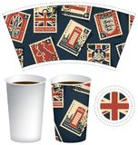 Paper cup for hot drink with postage stamps. Vector template of paper cup for hot drink. Disposable cup for tea or coffee with set of postage stamps on the theme Stock Image