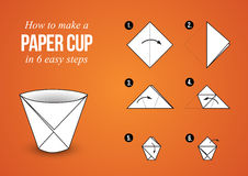 Paper Cup Instructions Origami – make your own cup stock photo