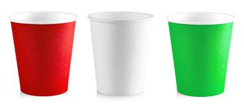 The paper cup isolated on white background stock photography