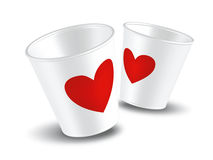 Paper cup Love. White paper cup for couple in love Stock Photography