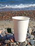 Paper cup on the pebbles Royalty Free Stock Images