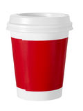 Paper cup, red and white, takeaway coffee etc. Isolated on white. No logo etc Stock Photography