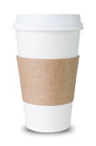 Paper cup with Sleeve before white background Stock Images