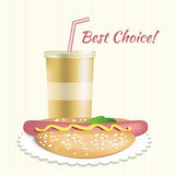 Paper cup with soda and hotdog Stock Images