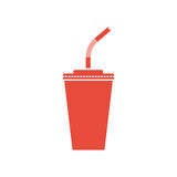 Paper cup soda icon. Paper red cups with straws silhouette for cold beverage. Vector illustration flat design. Isolated on white background. Fast food drink Stock Photo