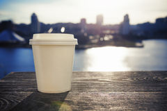 Paper cup with take-out coffee Stock Image