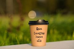 Paper cup witn wrotten word on it Stock Images