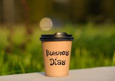 Paper cup witn wrotten word on it Royalty Free Stock Photo