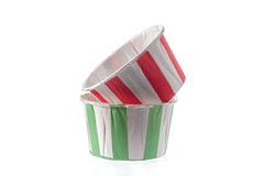 Paper cupcake cups isolated on white background. Stock Photography