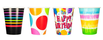 Paper cups. Four colorful paper waxed cups. Designers can pick any one of the set for use in their designs Stock Images