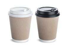 Paper cups with caps  on white background Stock Photos