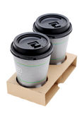 Paper cups of coffee in holder Royalty Free Stock Photo
