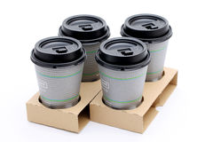 Paper cups of coffee in holder Royalty Free Stock Image