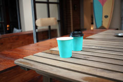 Paper cups of coffee. On the street, coffee break Stock Photo