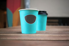 Paper cups of coffee. On the street, coffee break Royalty Free Stock Photography