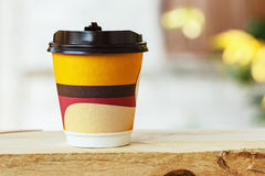 Paper cups coffee on  wood Royalty Free Stock Image