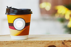 Paper cups coffee on  wood Stock Photography