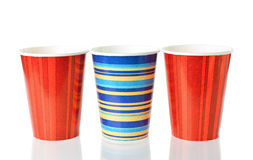 Paper cups. Colorful paper cups  on white background Stock Image
