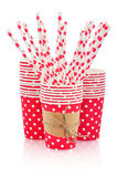 Paper cups and polka dot straws Stock Image
