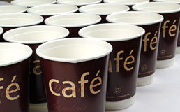 Paper cups in a row Stock Photography