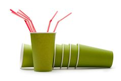 Paper cups with straws Royalty Free Stock Photography