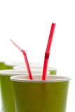Paper cups with straws Stock Images