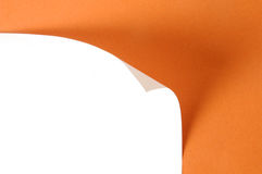 Paper curl. On orange background royalty free stock image