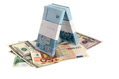 Paper currency of Ukraine USA and EU Royalty Free Stock Photos