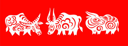 Paper-cut. Chinese figure paper cut ox vector illustration