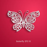 Paper cut abstract lacy butterfly on red background. Vector EPS10 Stock Photos