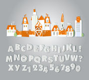 Paper cut alphabet with staplers and glue tape. Paper cut alphabet with glue tape royalty free illustration