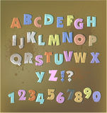 Paper cut alphabet with staplers and glue tape. Paper cut alphabet with glue tape stock illustration