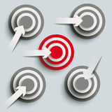 5 Paper Cut Arrow Targets PiAd. White paper arrows with targets on the grey background. Eps 10  file Stock Images