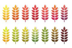 Paper cut autumn leaves set. Fall leaves colorful paper collection. Vector illustration. Stock Illustration