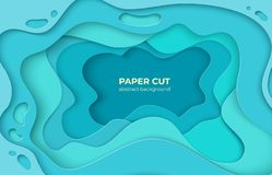 Free Paper Cut Background. 3D Minimal Water Wave Shapes, Abstract Origami Ocean Waves. Vector Color Decoration For Poster Royalty Free Stock Photo - 151966155