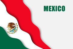 Paper cut background. With Flag of Mexico stock illustration