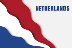 Paper cut background. With Flag of Netherlands vector illustration